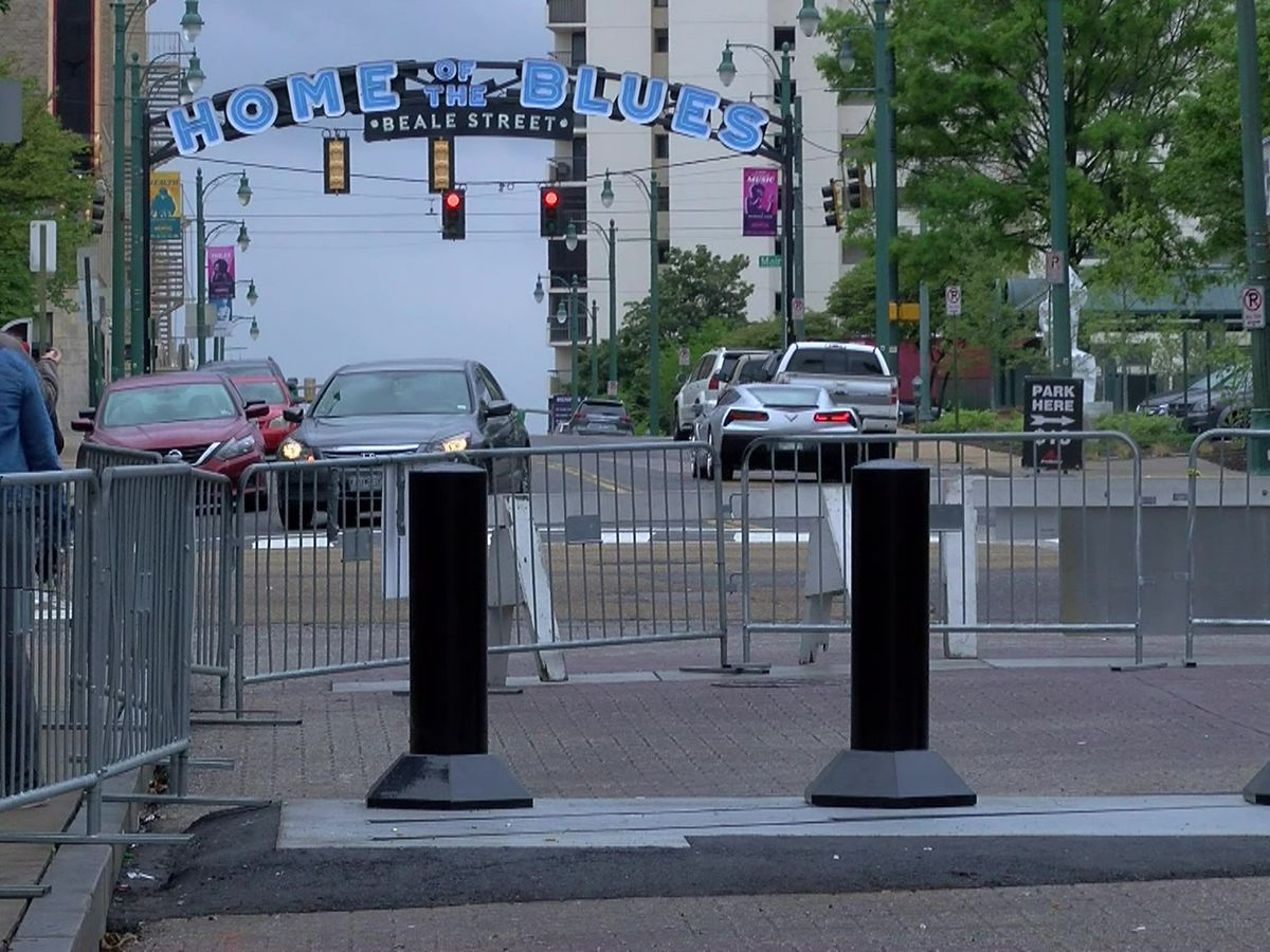 Steel bollards installed along Beale Street as safety enhancements