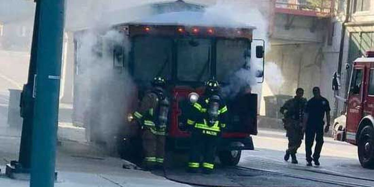Trolley bus catches fire