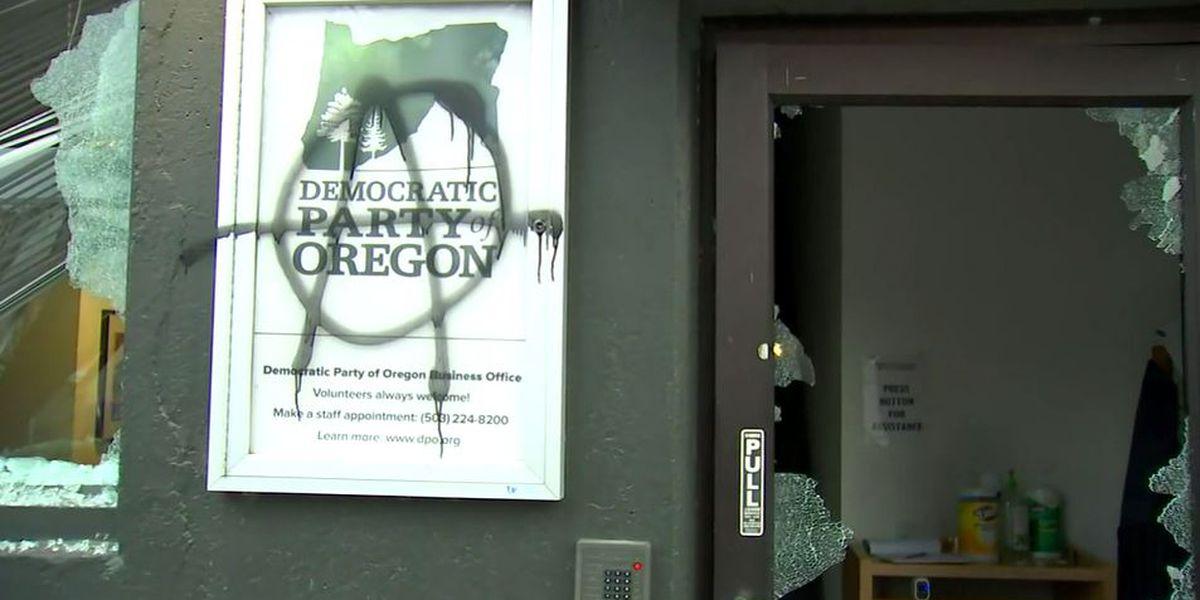 Protesters gather, damage Democratic headquarters in Oregon