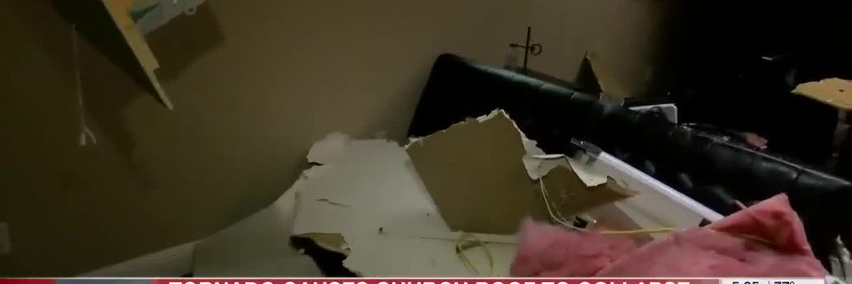 Tornado causes Ark. church roof to collapse