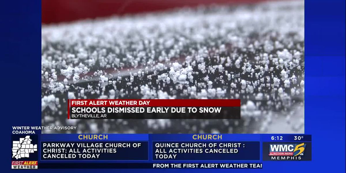 Schools dismissed early due to snow