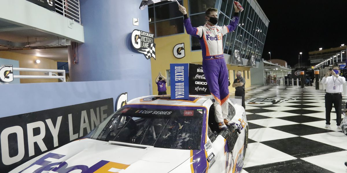 Hamlim drives FedEx car to victory at Pocono