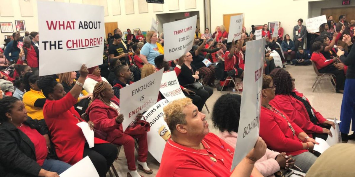 SCS teachers protest professional development program at county school board meeting