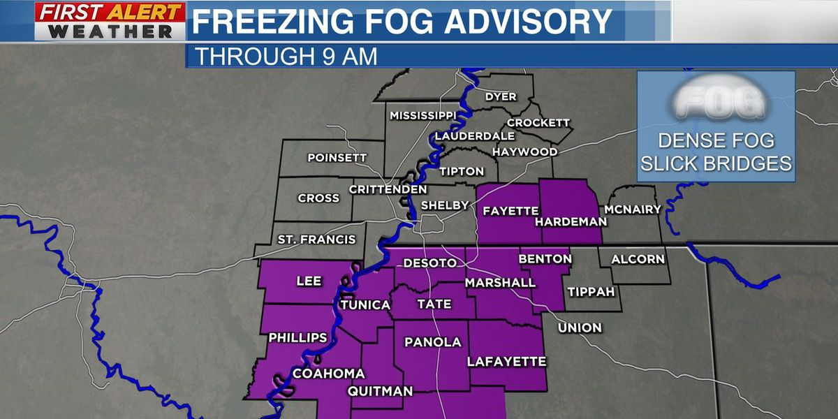 Freezing Fog Advisory in effect for parts of the Mid-South