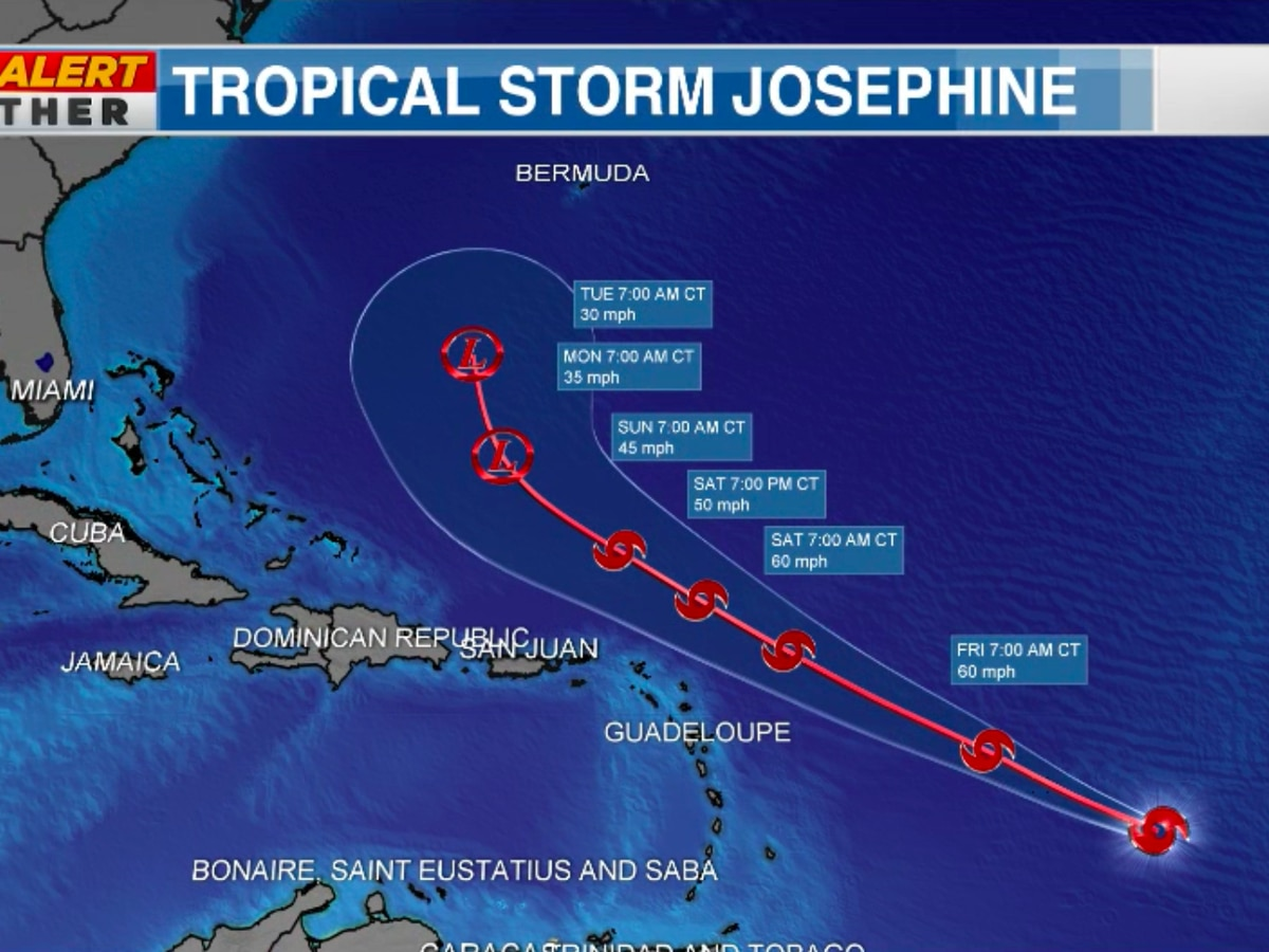 Tropical Storm Josephine officially forms in Atlantic Ocean