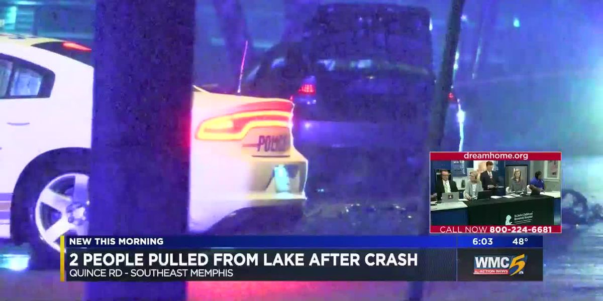 2 people pulled from lake after crash