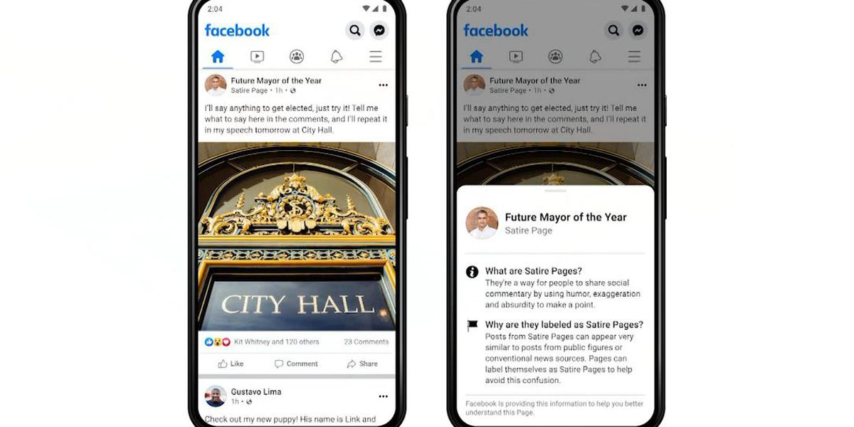 Facebook adds labels to satire pages in News Feed