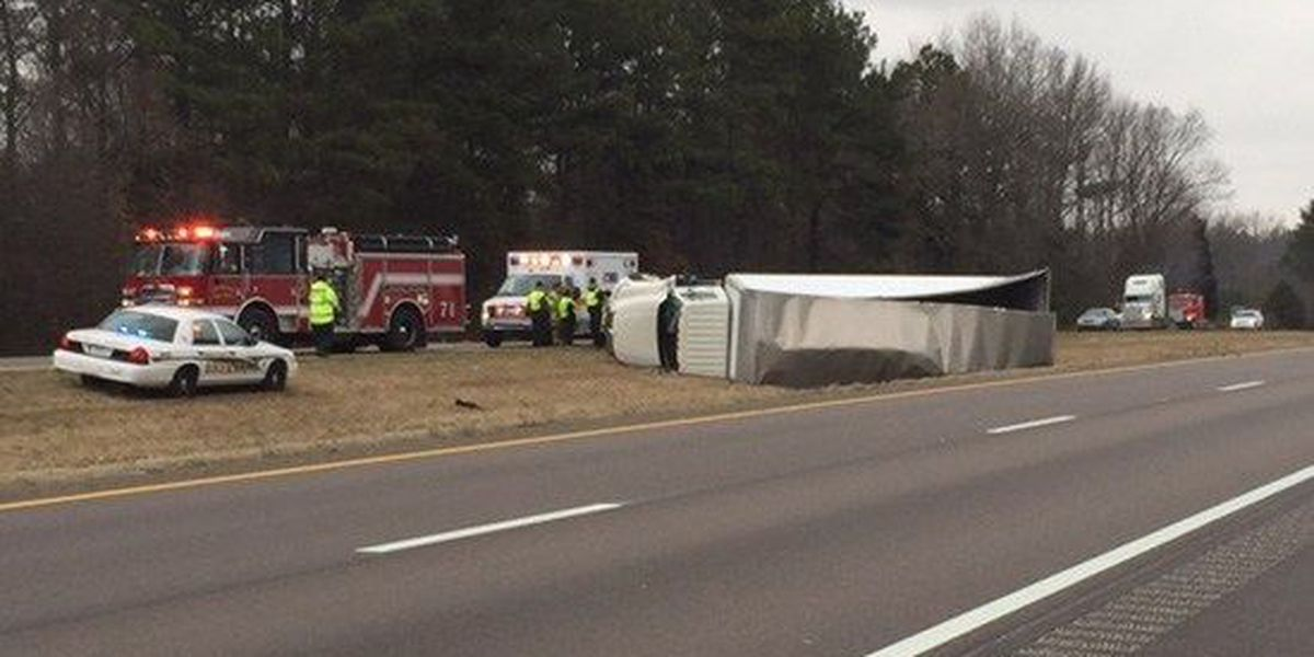 Emergency crews respond to overturned tractor-trailer on I-40