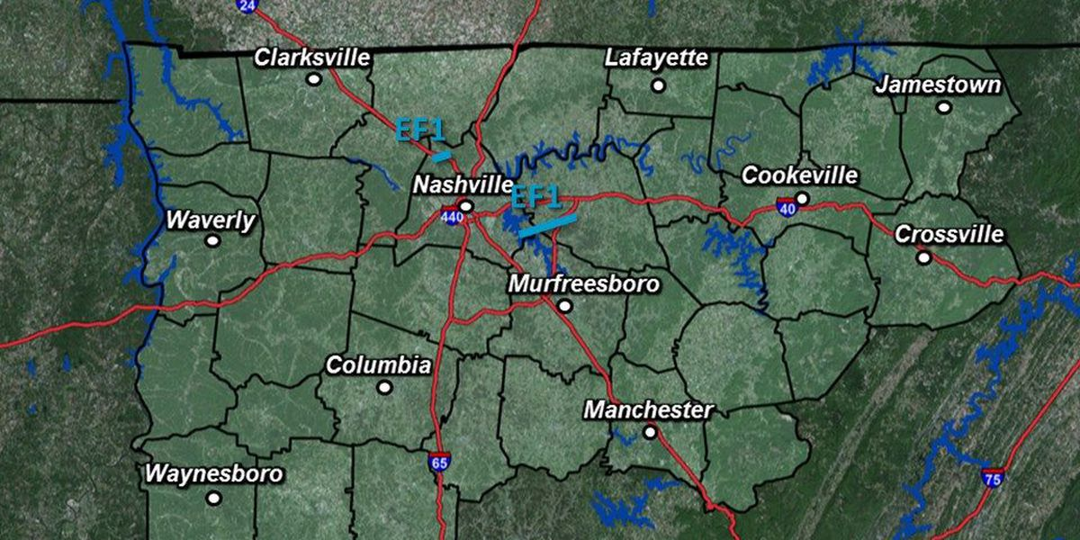 Weekend storm system produces 3 tornadoes in middle Tennessee