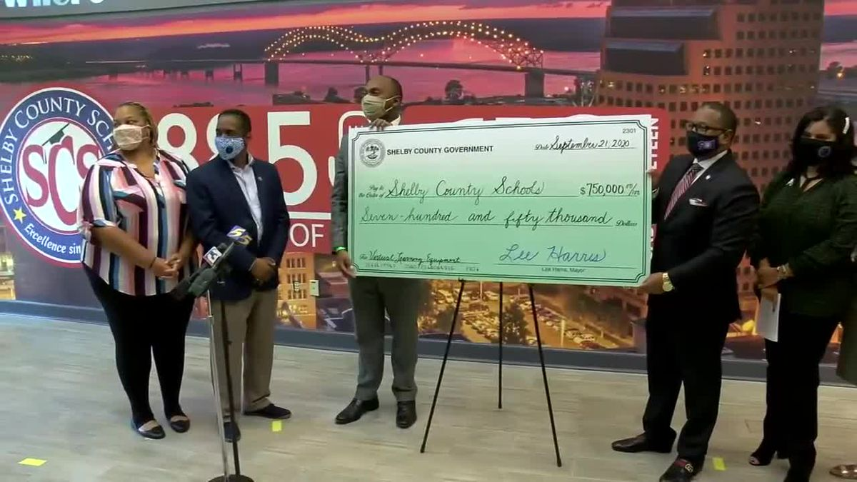 Shelby County government presents $750K check to SCS for student headset fundraiser