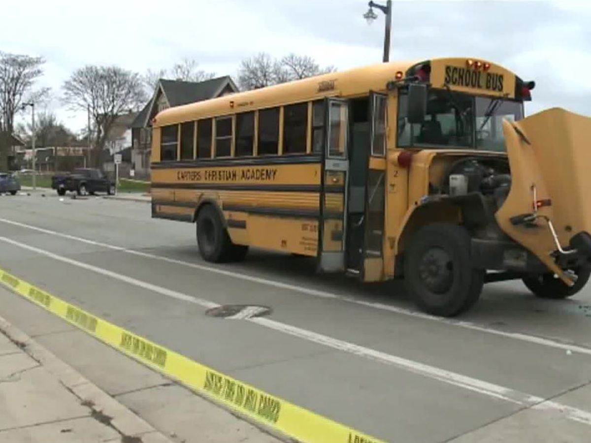 7 hospitalized after police chase ends in crash with school bus