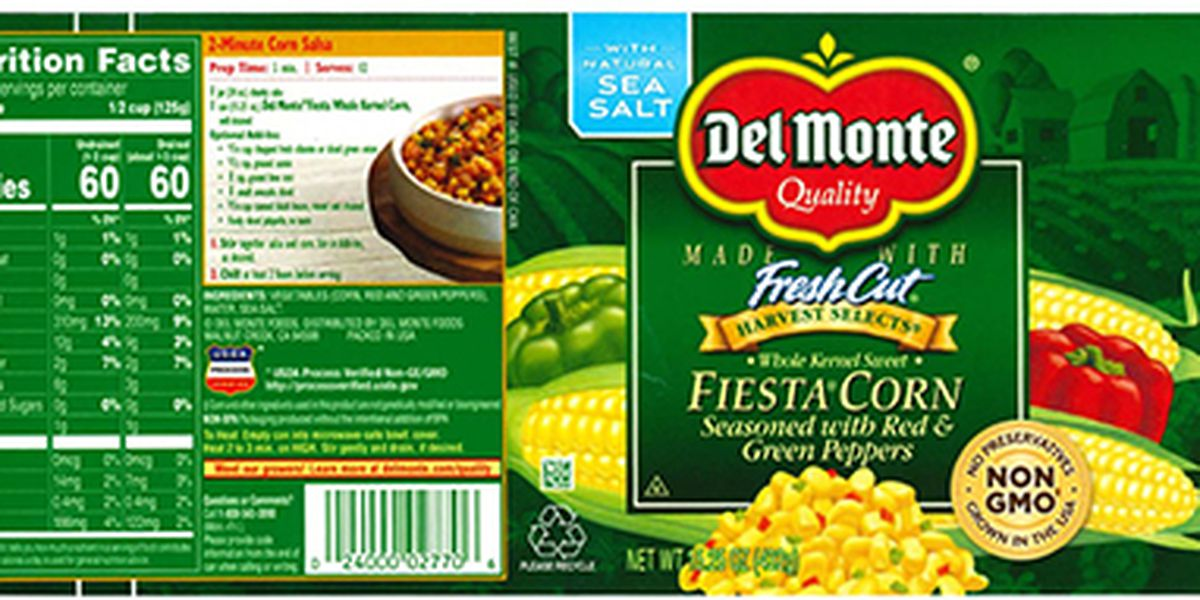Del Monte recalling Fiesta Corn due to under processing