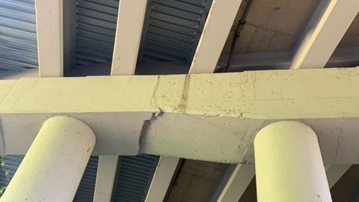 Cracked concrete over Greenline under I-240 causing concerns