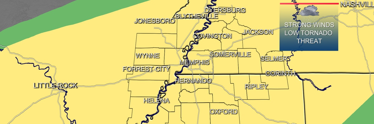 Slight risk of severe weather today in the Mid-South