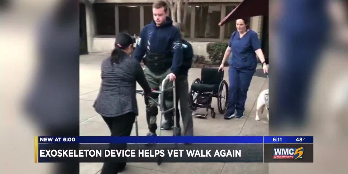 Exoskeleton device helps paralyzed Olive Branch veteran walk again