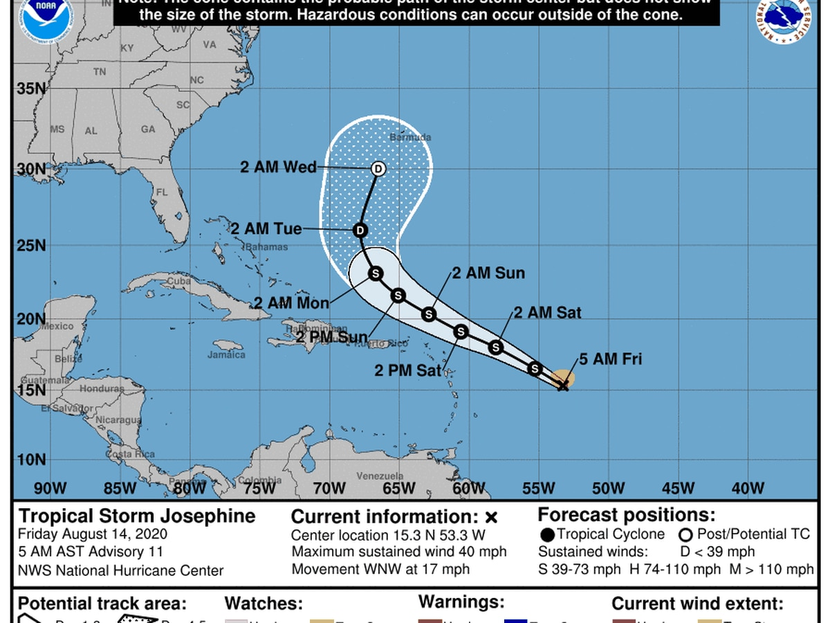 Tropical Storm Kyle forms as Josephine weakens in Atlantic