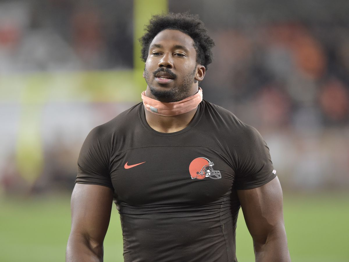 Myles Garrett says Cleveland Browns 'fan' sucker-punched him after photo