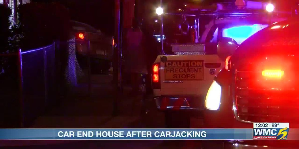 Car slams into house after carjacking