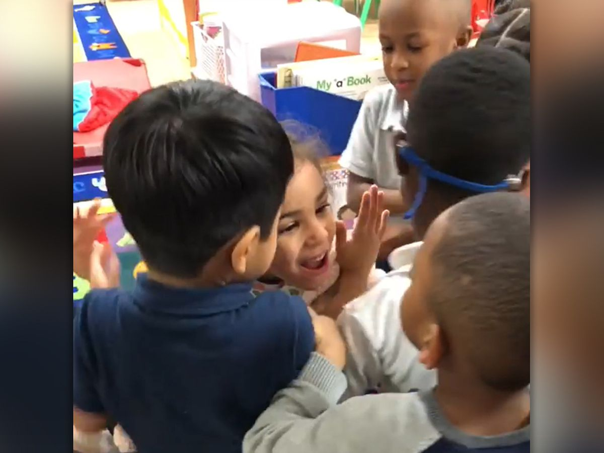 Hugs for Miriam: Students teaching acceptance and kindness with daily hugs for 4-year-old classmate with cerebral palsy