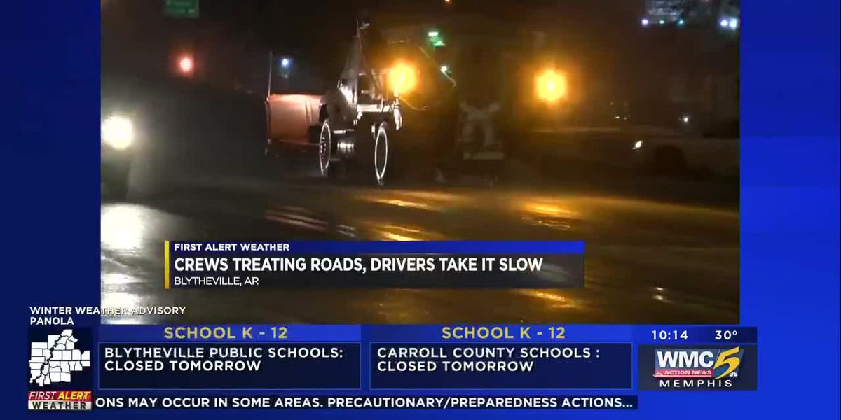 Crews treating roads, drivers take it slow