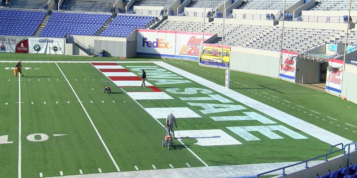 Crews prep Liberty Bowl field ahead of bowl game