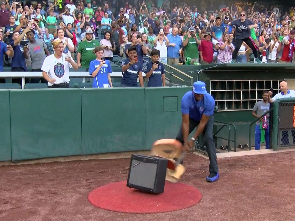 Memphis 901 FC hosts contest for fan to carry out pregame guitar smash