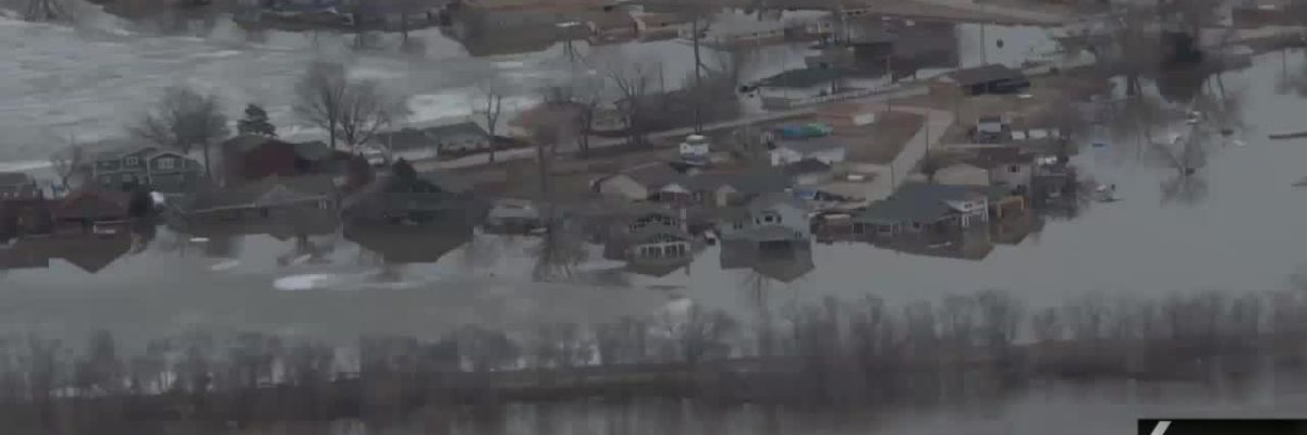 Aerial footage of Missouri River flooding in the Midwest