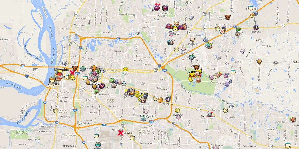 Map shows where various Pokemon are found in Memphis