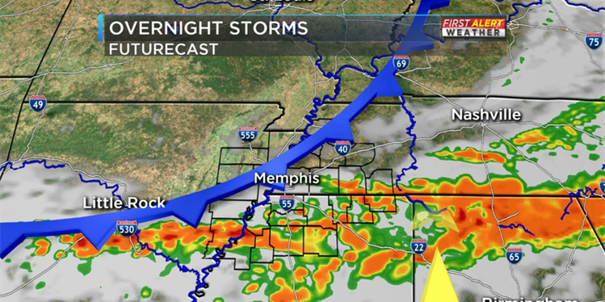 Rain, thunderstorms move into Mid-South Friday night