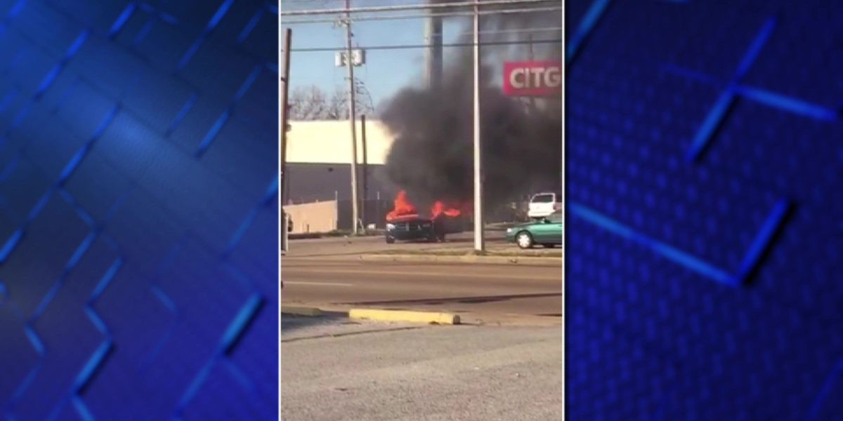 Car catches fire at Memphis gas station