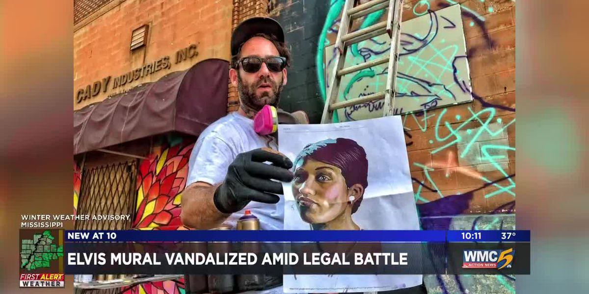 Zombie Elvis mural vandalized amid legal battle