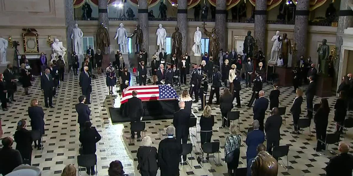 WATCH: Memorial ceremony for Ruth Bader Ginsburg as she becomes the first woman to lie in