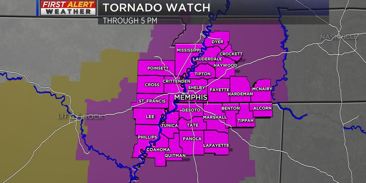 Tornado Watch issued for Mid-South until 5 pm