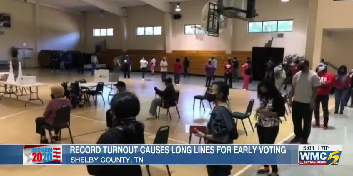 Voters wait in lines as Shelby County breaks records for first day of early voting in 2020 presidential election