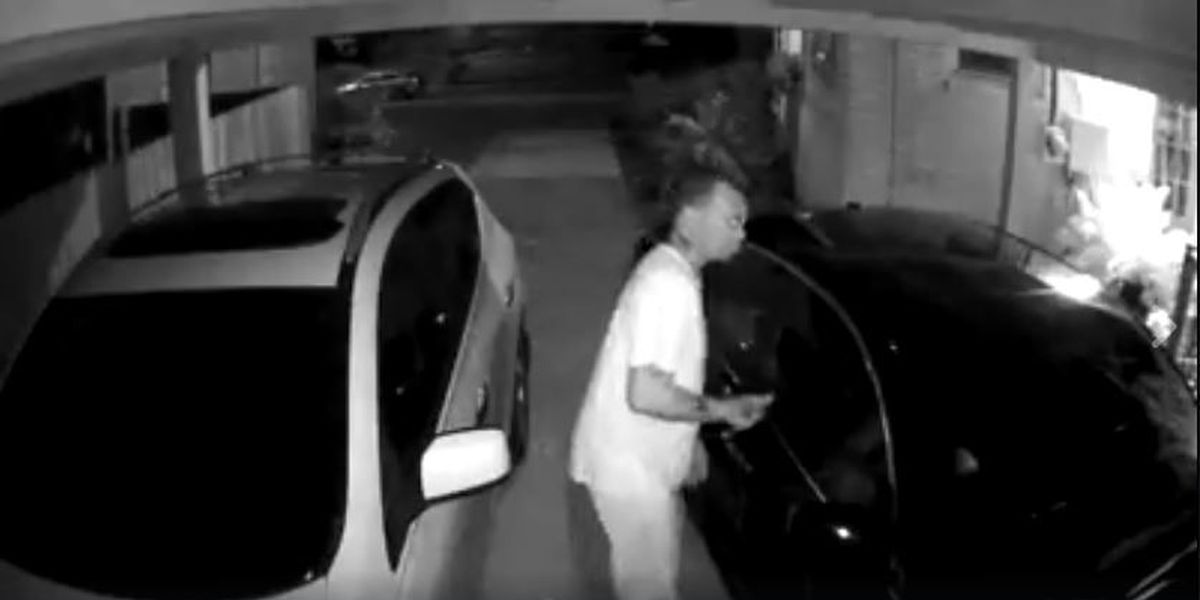 Man caught on camera looking to steal from vehicles