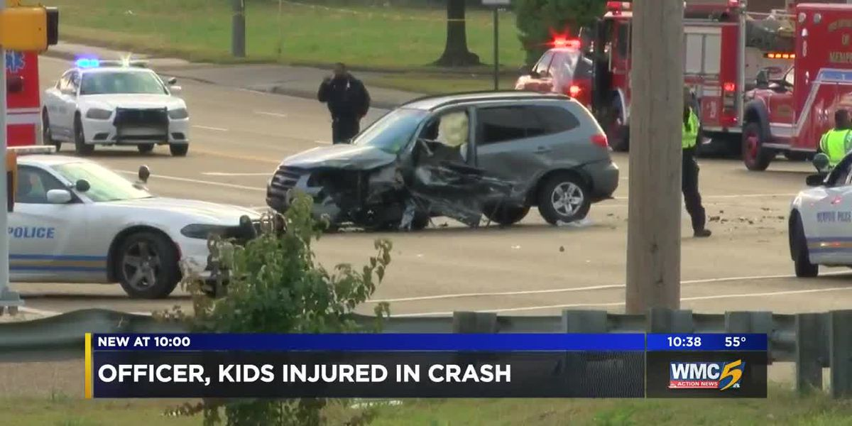 Police officer, kids injured in crash