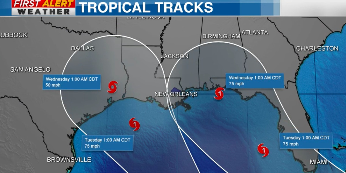 Two tropical systems forecasted to move into the Gulf of Mexico next week