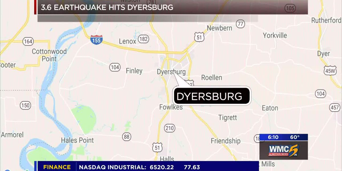 3.6 magnitude earthquake hits near Dyersburg