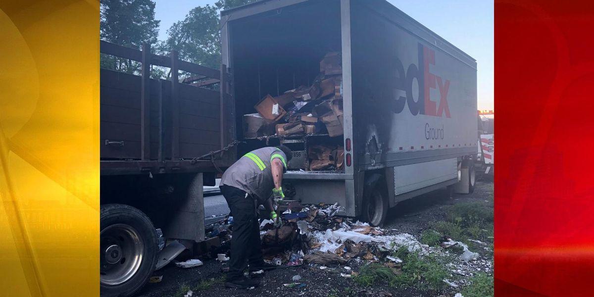 FedEx truck catches fire, shuts down I-40