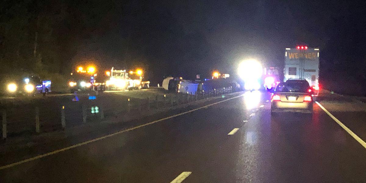 Overturned 18-wheeler causing backups on I-55