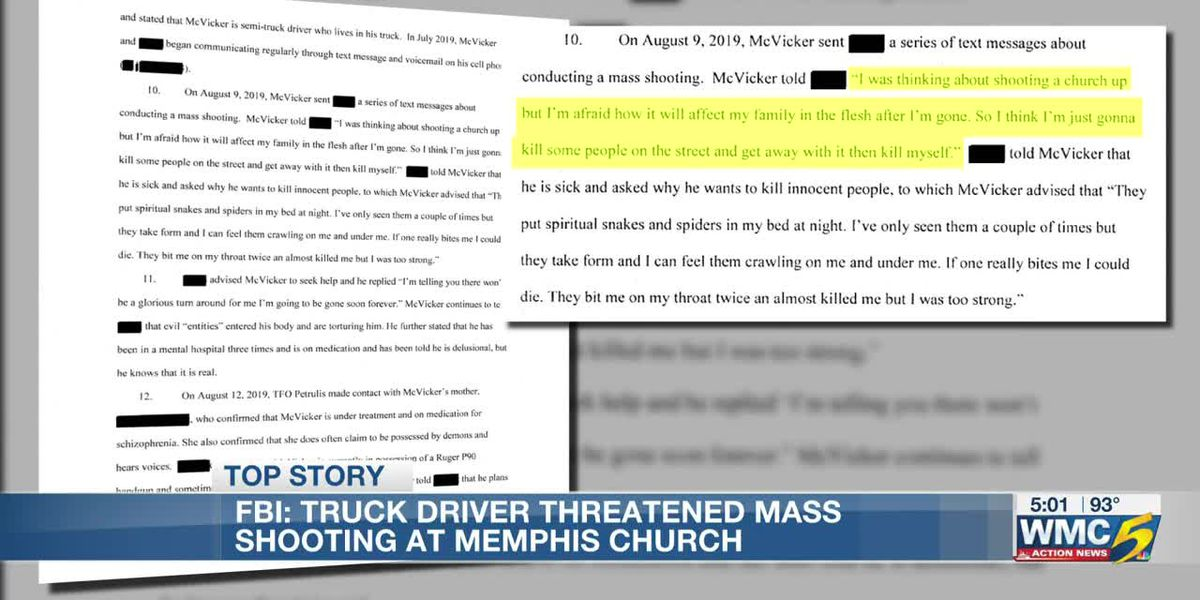 Affidavit: Florida truck driver threatened to slit pastor's throat, commit mass shooting at Memphis church
