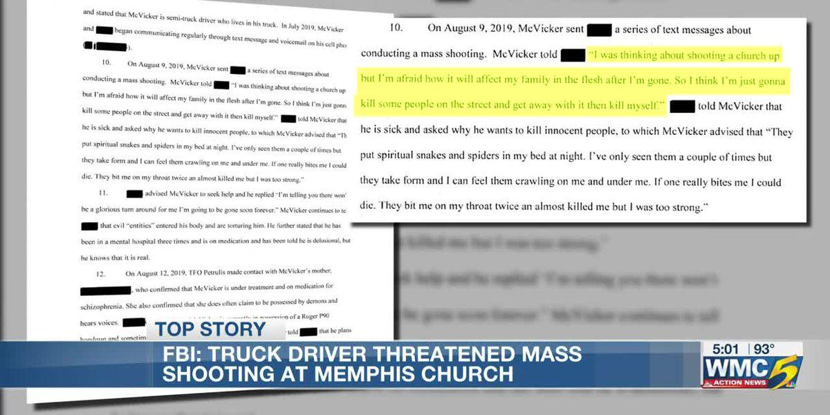 Affidavit: Florida truck driver threatened to slit pastor's throat, commit mass shooting at Memphis church