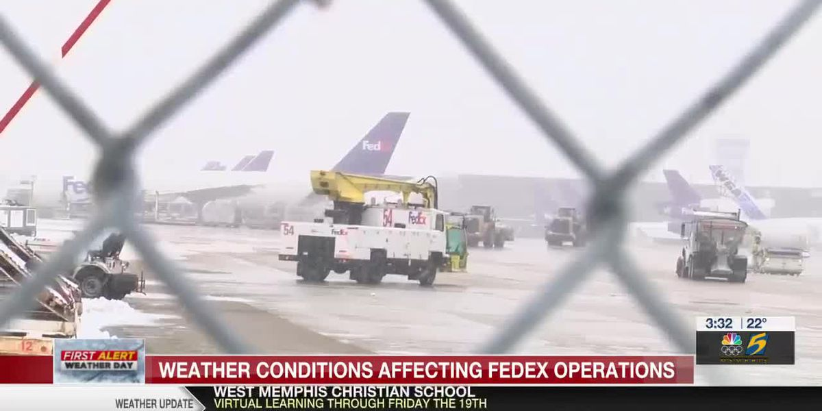 CDC says vaccine shipments will be delayed because of winter weather disruptions at Memphis FedEx hub