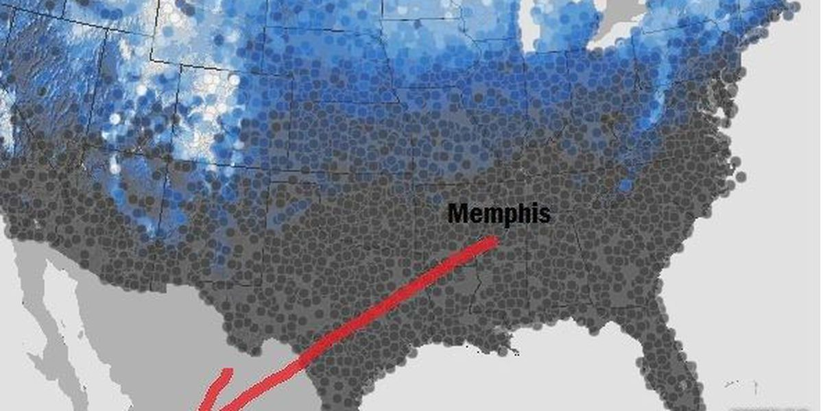 Potential for a white Christmas in Memphis low but not zero