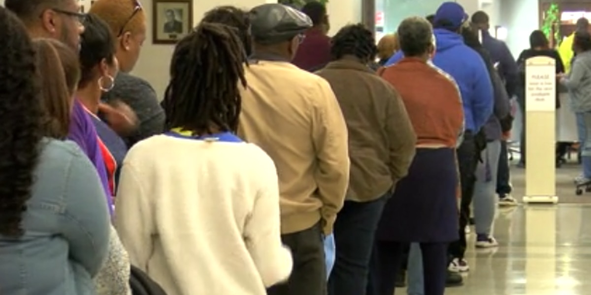 Long lines of voters wait to cast absentee ballots ahead of U.S. Senate runoff
