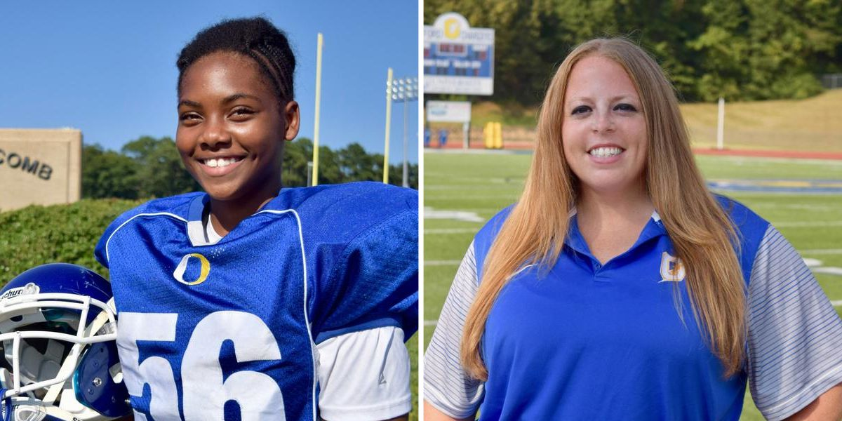 Oxford Middle School celebrates school's 1st female football player and coach