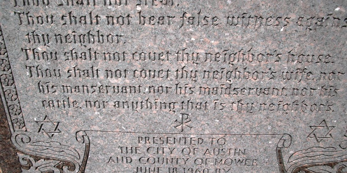 Judge OKs merging 2 lawsuits over 10 Commandments monument