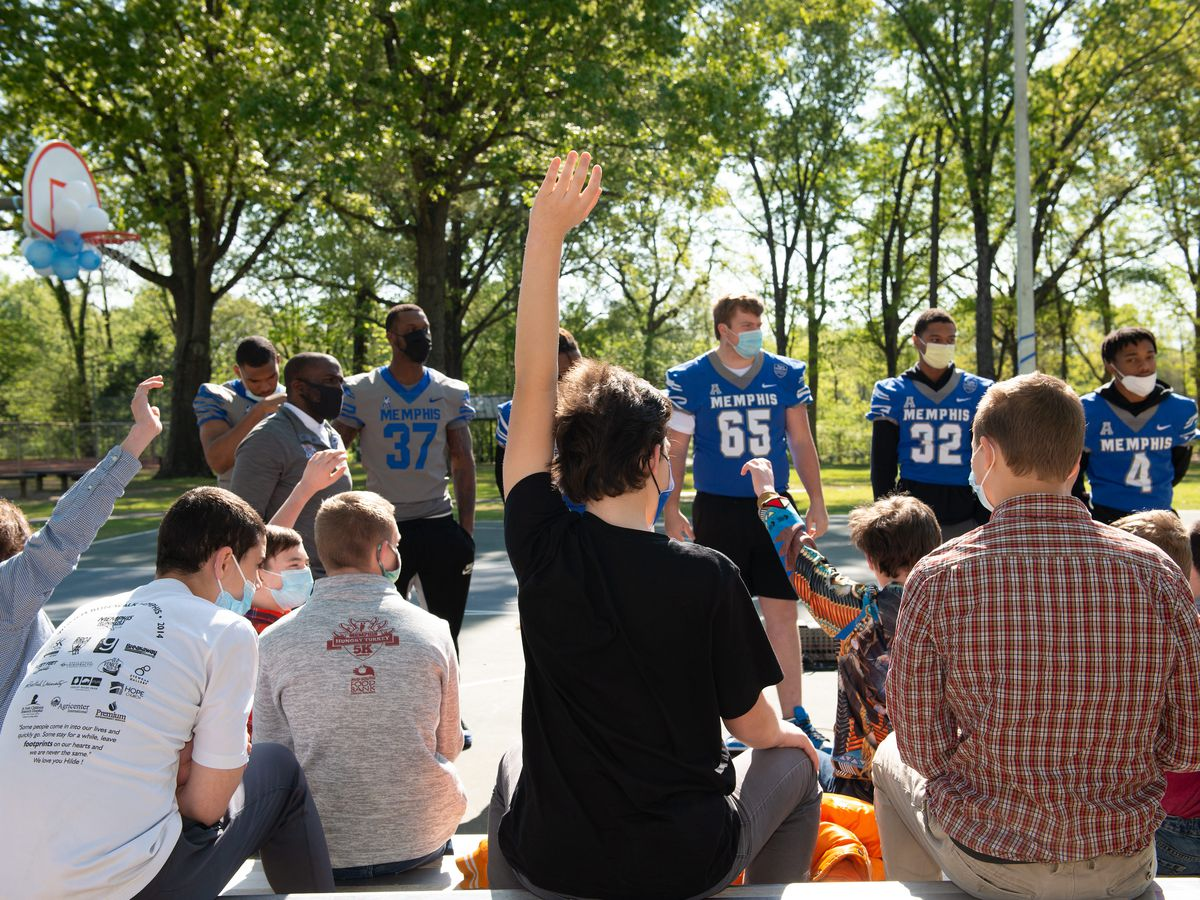 UofM football players visit Youth Villages with motivational pep talk