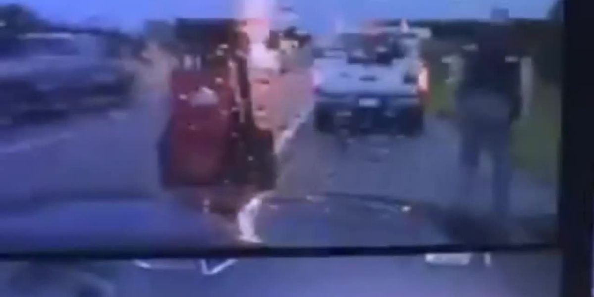 Lightning nearly hits Oklahoma state trooper