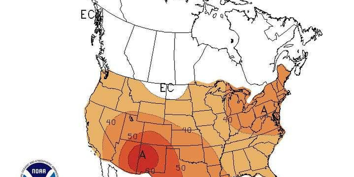 Three month temperature outlook from NOAA